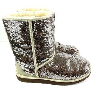 UGG Womens Boots 9 Classic Short Sequin Bling